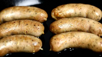 Sausage baked in a pan