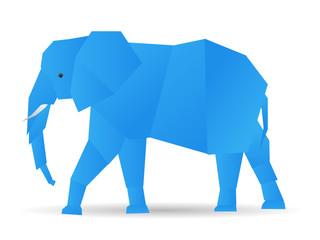 origami cute elephant in blue