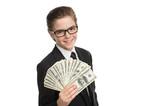 Wealthy little businessman. Cheerful little boy in formalwear ho poster