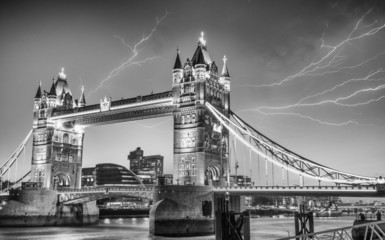London. Majesty of Tower Bridge on a stormy evening