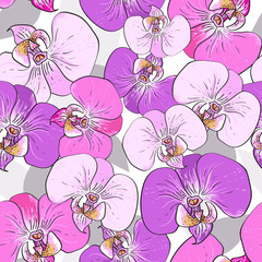 Pink orchid flowers - seamless vector pattern