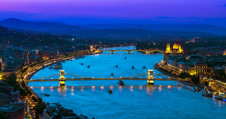 Upper view of Budapest over Danube river