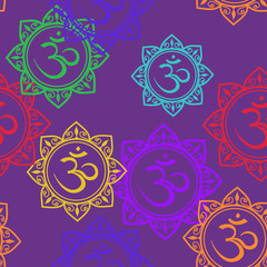Seamless pattern of Om signs
