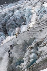 alpinistes sur le Glacier Blanc (3000m) PN des Écrins