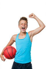 Teen basketball player with winning attitude.