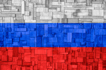 Russian Flag on a wooden Background