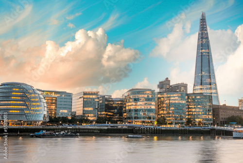 London Cityscape, including City Hall, seen from Tower Bridge at