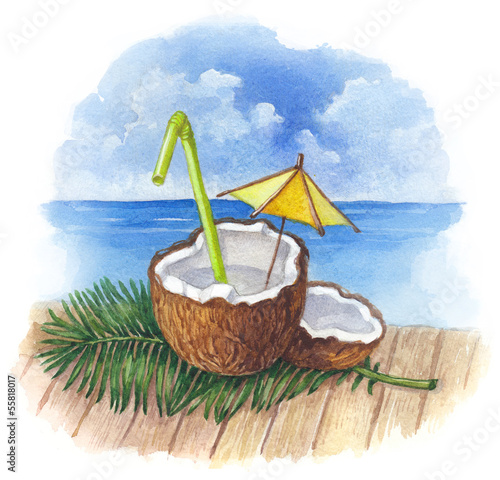 Watercolor illustration of coconut cocktail
