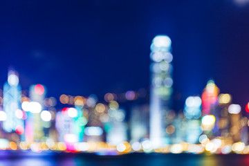 Defocused Hong Kong skyline