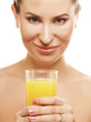 girl drinking orange juice close up
