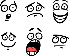 emoticon or emotions set cartoon illustration