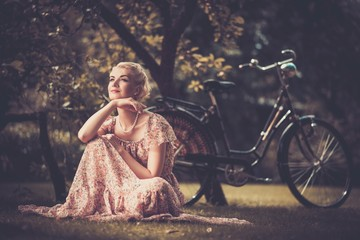 Elegant retro woman in summer dress