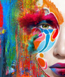 color face art woman close up portrait - 55820033
