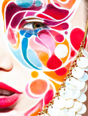 color face art woman close up portrait
