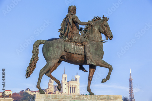 Statue of Louis XIV and Fourviere basilica