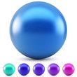 Blue glossy ball vector illustration isolated