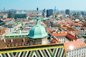 View of the Vienna rooftops from Stephansdom