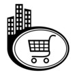 Shopping trolley - vector icon isolated. Black city pointer