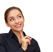 Smiling business woman thinking about looking up isolated