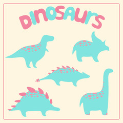 Cartoon style dinosaurs set