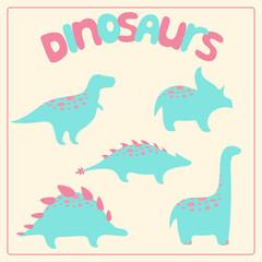 Cartoon style dinosaurs set
