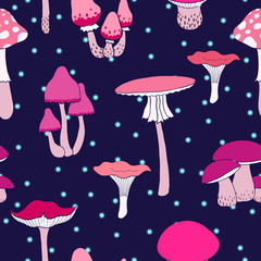 Colorful mushrooms seamless pattern