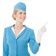 Charming Stewardess Dressed In Blue Uniform Pointing The Finger