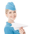 Charming Stewardess Holding Paper Plane In Hand. Isolated On Whi