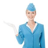 Fototapety Charming Stewardess Dressed In Blue Uniform Holding In Hand On W