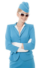 Charming Stewardess Dressed In Blue Uniform And Vintage Sunglass
