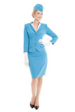 Charming Stewardess Dressed In Blue Uniform On White Background