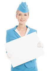 Charming Stewardess Dressed In Blue Uniform With Blank Form On W