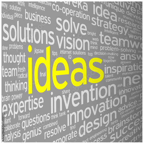 """IDEAS"" Tag Cloud (innovation solutions teamwork success)"