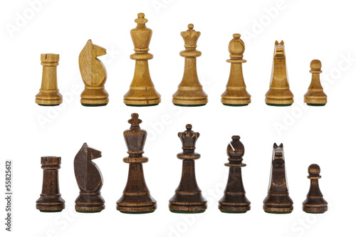 Vintage Wooden Chess Set Pieces Isolated
