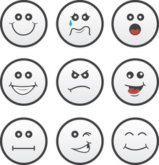 Circle faces in various expressions