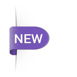 New lavender color rounded sticker with drop shadow