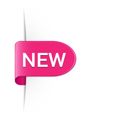 New hot pink rounded sticker with drop shadow