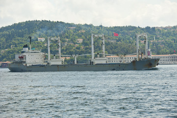Large ship traveling on a river