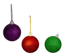 Purple red and green Christmas balls,baubles - isolated on white