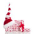 Weihnachtlicher Hintergrund in Weiß mit roten Herzen