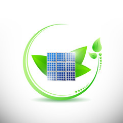 solar panel and stylish leaves. illustration