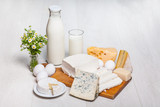 milk and food on wooden background