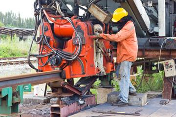 Railway workers were Welding with Flash Butt Welding Machine