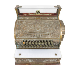 Vintage Cash Register Isolated with Clipping Path