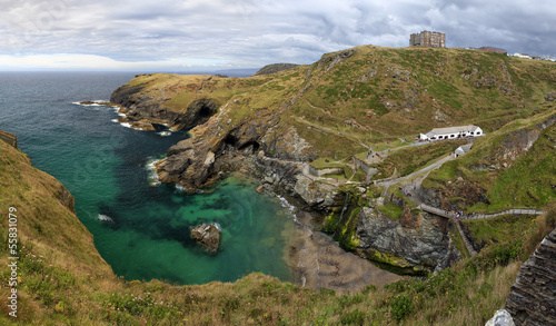 Panoramic shot of the coastline near Tintagel in Cornwall