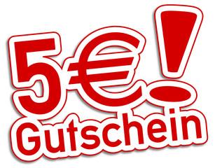 Gutschein 5€ Euro rot  #130903-svg05