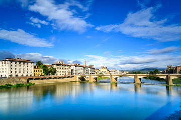 Florence or Firenze, Ponte alle Grazie bridge, Italy.