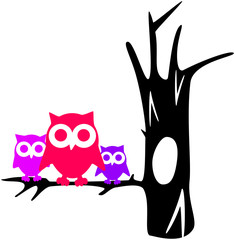 contour tree with owls