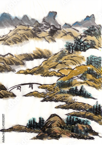 chinese painting landscape bridge