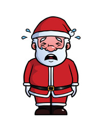 Santa Claus being sad and crying.